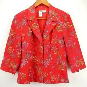 Coldwater Creek Embroidery Linen Floral Blazer